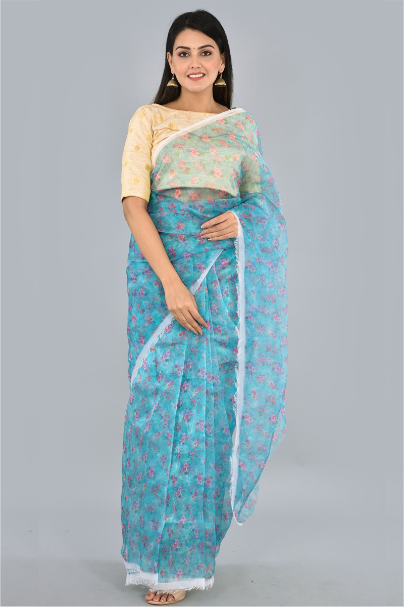Blue Pink and White Organza Digital Printed Saree-36185