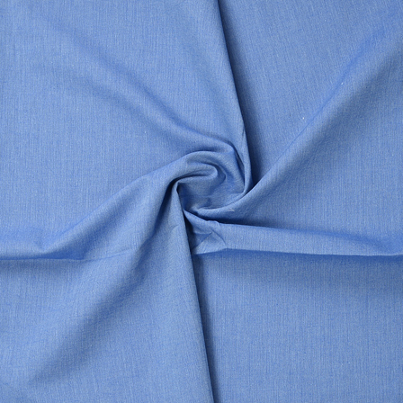 Blue Plain Cotton Handloom Fabric-40193