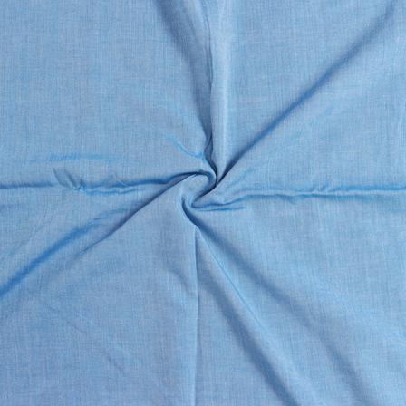 Blue Plain Viscose Cotton Samray Handloom Khadi Fabric-40117