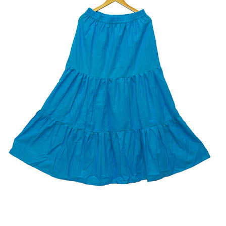 Blue Plain Cotton Skirt-23029