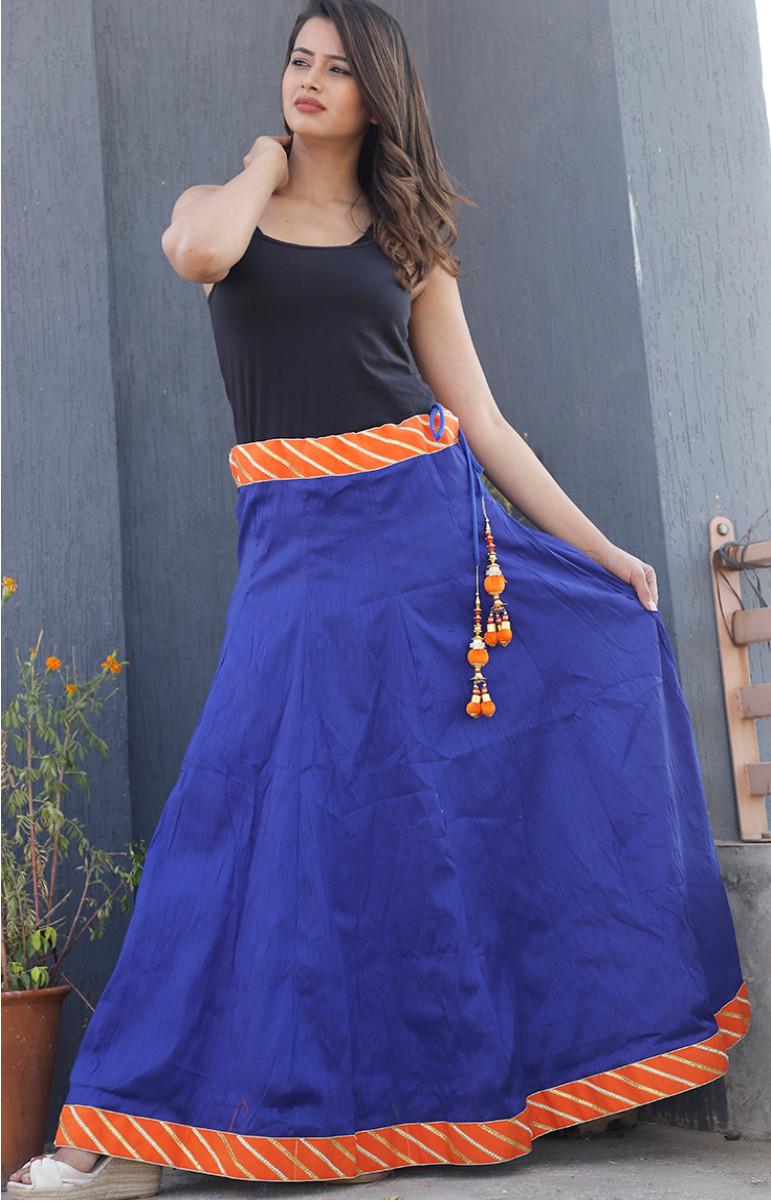 Blue Plain Dupion Silk Lehenga-34234-(Free Size)