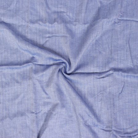 Blue Plain herring bone Handloom Fabric-40111