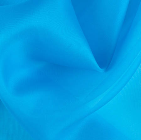 Blue Plain Organza Silk Fabric-51783