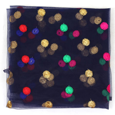 Blue Red and Blue Polka Net Fabric-60968