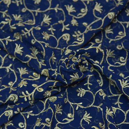 Blue Poly Georgette Base Fabric With Golden Leaf Embroidery-60043