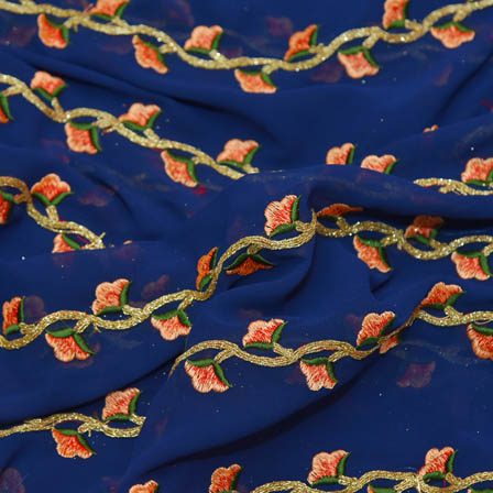 Blue Poly Georgette Base Fabric With Golden and Green Floral Embroidery-60040