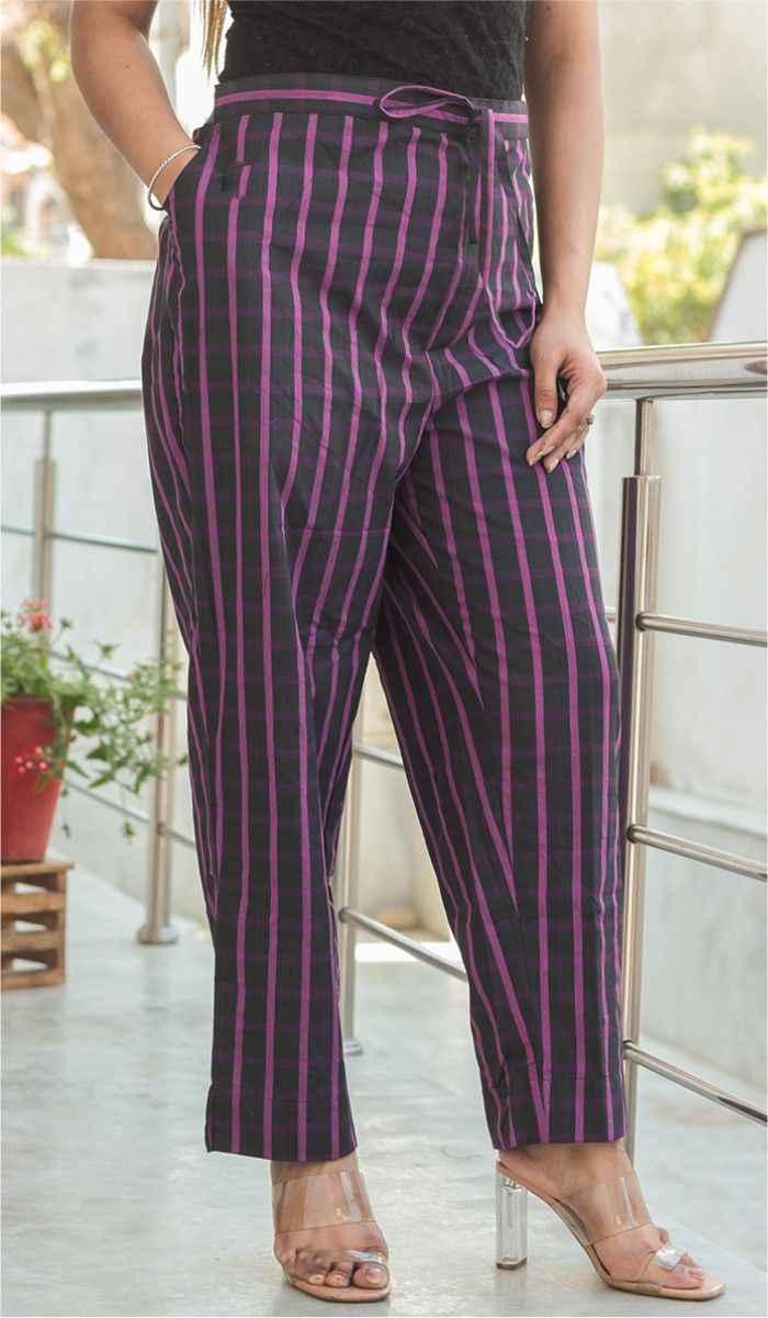 Blue Purple Cotton Stripe Pant-35192
