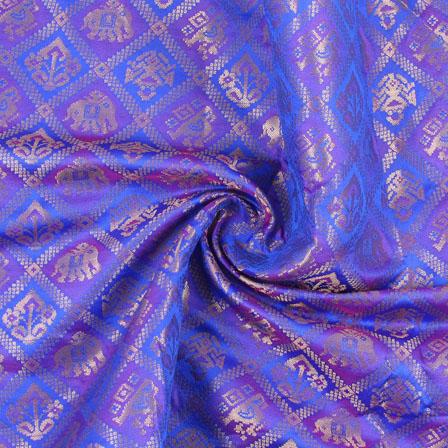 Blue Purple and Golden Elephant Brocade Silk Fabric-8897