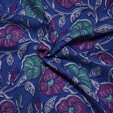 Blue-Purple and White Flower Design Rayon Fabric-15020