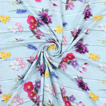 Blue Purple and Yellow Flower Rayon Fabric-15082