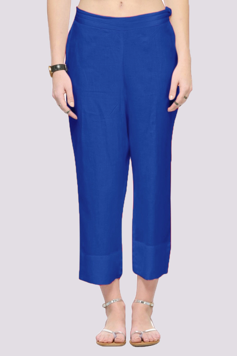 Blue Rayon Ankle Length Pant-33683