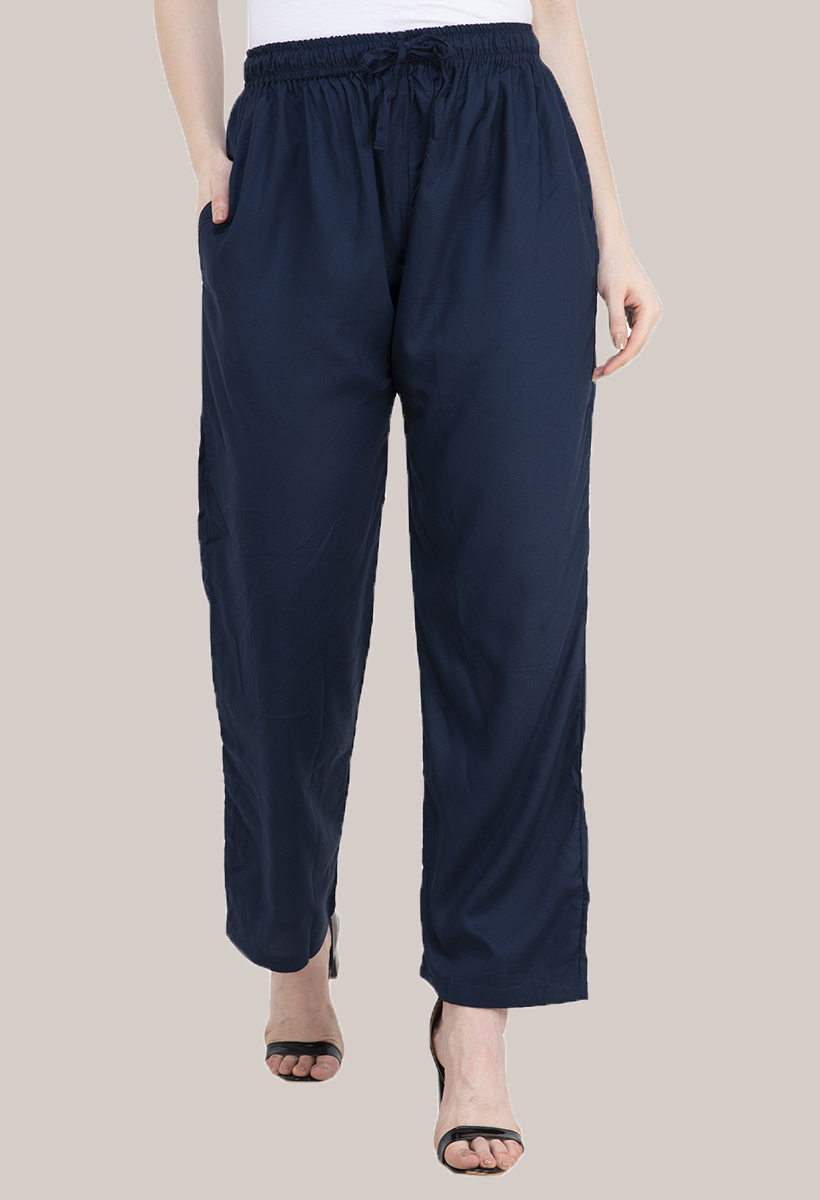 Blue Rayon Pant-33487