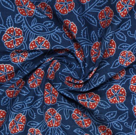 Blue Red Block Print Cotton Fabric-16083