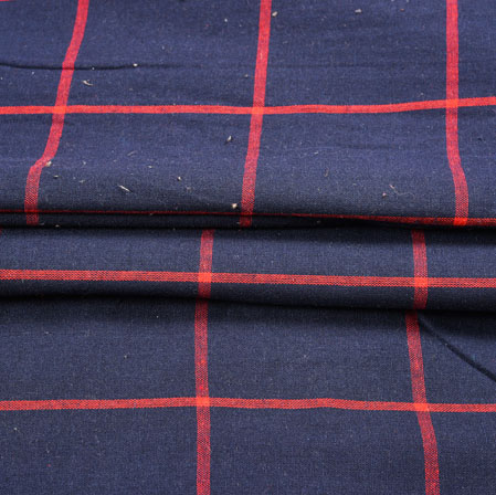 Blue Red Checks Cotton Fabric-42398