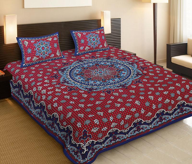 Blue Red Cotton Jaipuri Bedsheet-529