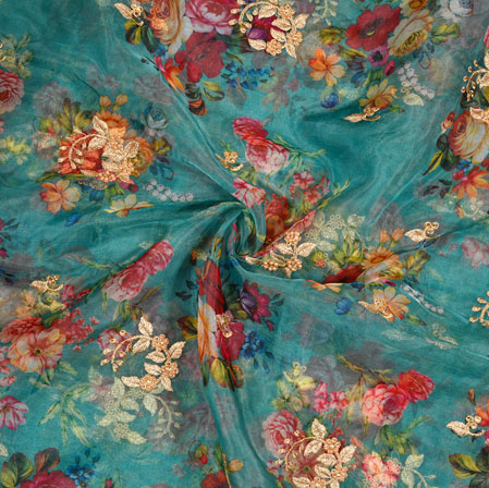 Blue Red Floral Organza Digital Embroidery Silk Fabric-22137