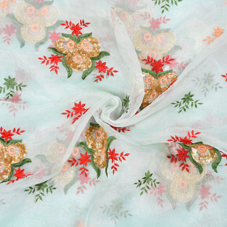 Blue Red Floral Organza Embroidery Fabric-22158