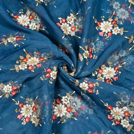 Blue Red Flower Organza Embroidery Fabric-22260