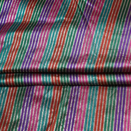 Blue Red Stripe Brocade Silk Fabric-12723