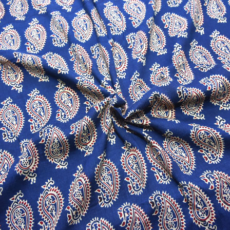 Blue-Red and Beige Paisley Design Block Print Cotton Fabric-14184