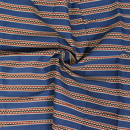 1 MTR-Blue-Red and Black Zig Zag Design Block Print Cotton Fabric-14301