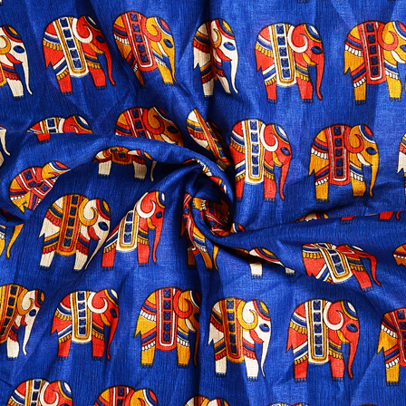 Blue-Red and Cream Elephant Design Kalamkari Manipuri Silk Fabric-16161