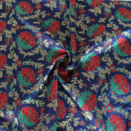 Blue Red and Golden Floral Banarasi Silk Fabric-9404