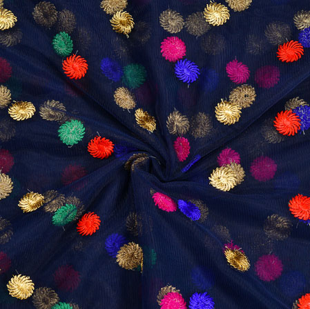 Blue Red and Golden Embroidery Silk Net Fabric-18650