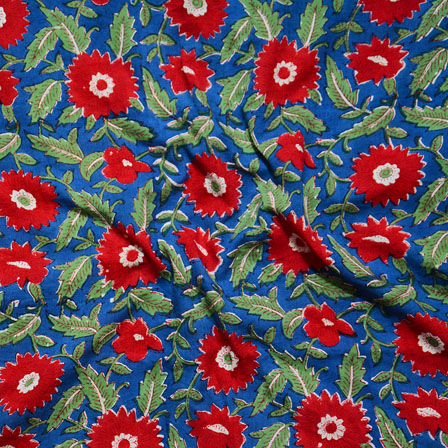 Blue Red and Green Block Print Cotton Fabric-14624