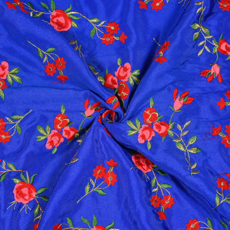 Blue Red and Green Floral Chinon Embroidery Silk Fabric-19025