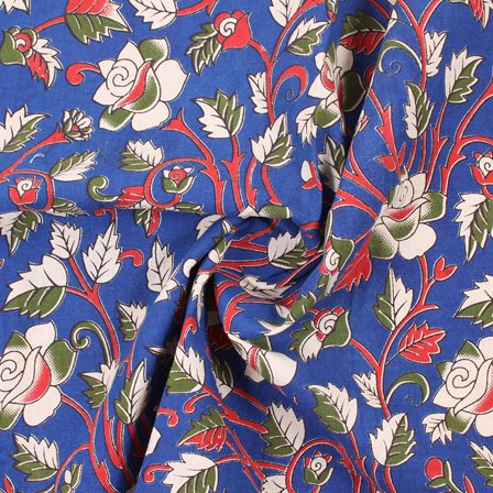 Blue-Red and Green Flower Kalamkari Cotton Fabric-10182