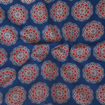 Blue Red and White Block Print Cotton Fabric-14795