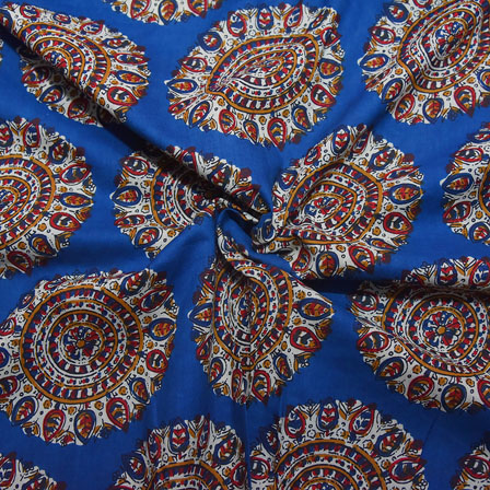 Blue-Red and White Circular Floral Design Block Print Cotton Fabric-14196