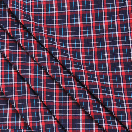 Blue-Red and White Cotton Checks Handloom Fabric-40053