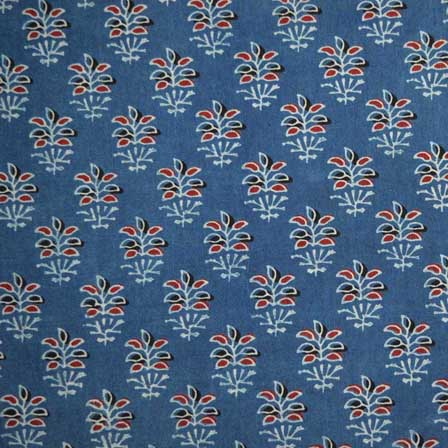 Blue Red and White Floral Hand Print Cotton Ajrakh Fabric