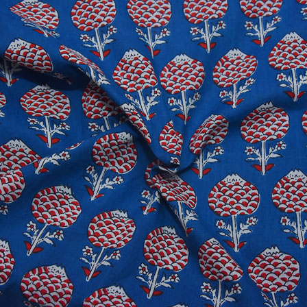 Blue-Red and White Floral Pattern Block Print Cotton Fabric-14180