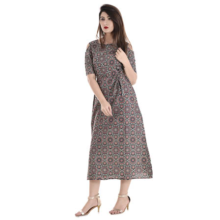 Blue-Red and White Half Sleeve Cold Shoulder Rayon Kurti-3078