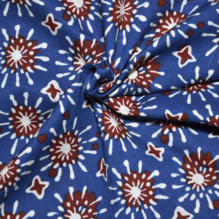 Blue-Red and White Unique Design Ajrakh Cotton Fabric-14080