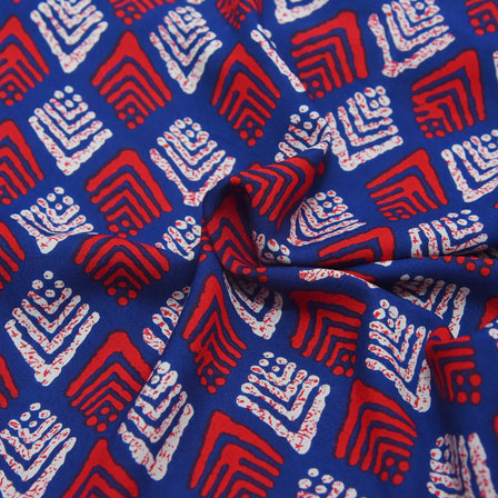 Blue-Red and White Unique Pattern Rayon Fabric-15033