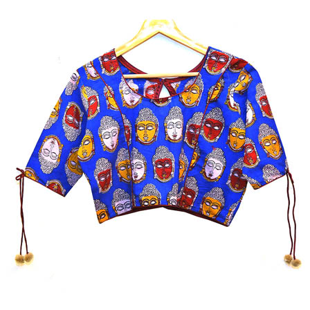 Blue-Red and Yellow Buddha Kalamkari Print Cotton Blouse-30006