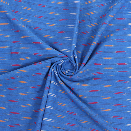 Blue-Red and Yellow Cotton Ikat Fabric-12175
