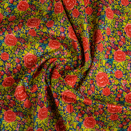 Blue-Red and Yellow Flower Banglori Silk Fabric-37010