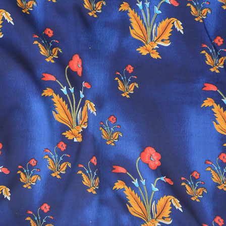 Blue Red and Yellow Flower Crepe Silk Fabric-18227