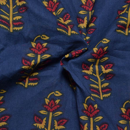 Blue-Red and Yellow Tree Design Block Print Cotton Fabric-14003