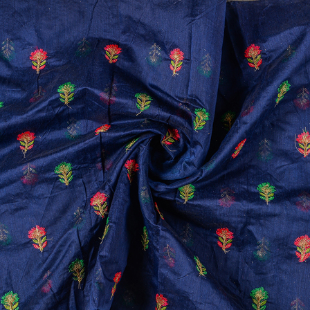 Blue Silk Base Fabric With Pink and Green Flower Embroidery-60748