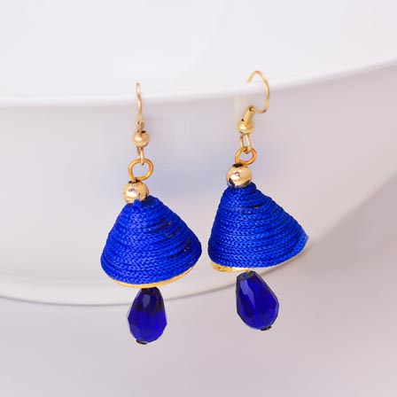 Blue Silk Handcrafted Jhumki with Blue Stone Drop for Women