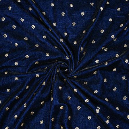 Blue Silver Flower Sequin Booty Velvet Embroidery Silk Fabric-19192
