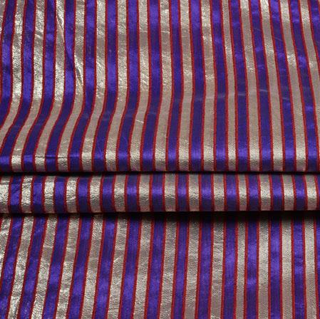 Blue Silver Stripe Brocade Silk Fabric-12721