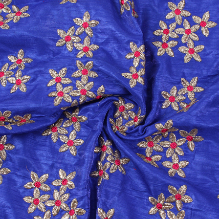 Blue-Silver and Golden Flower Design Silk Embroidery Fabric-60222