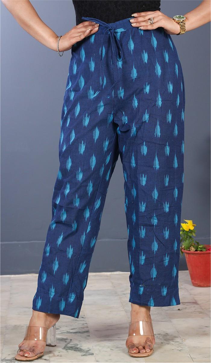 Blue Sky Blue Cotton Ikat Ankle Women Pant-34681